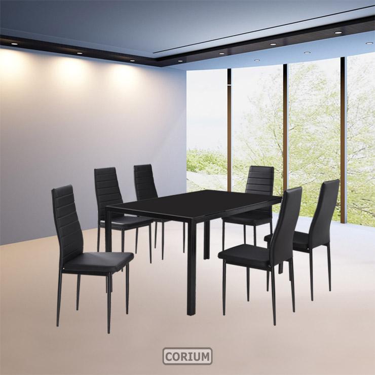 Esstisch modern design  Design Glastisch + 6 Stühle Esszimmerset Glas Tisch Esstisch ...