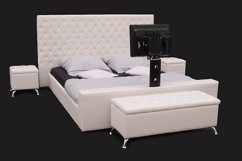 lederbett doppelbett bett 180x200 wei tv halterung. Black Bedroom Furniture Sets. Home Design Ideas