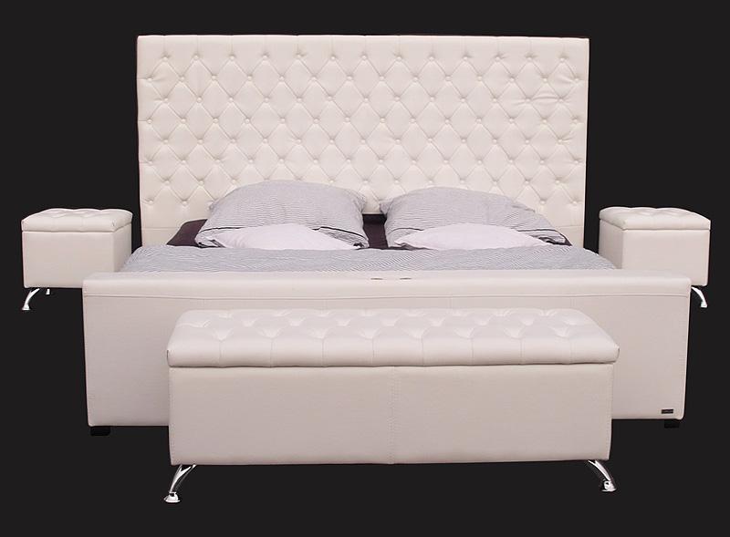 lederbett doppelbett bett 180x200 wei schlafzimmer set polsterbett leder. Black Bedroom Furniture Sets. Home Design Ideas