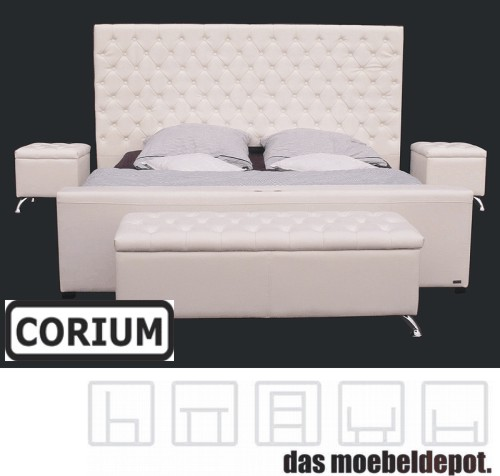 lederbett doppelbett bett 180x200 wei schlafzimmer set polsterbett leder ebay. Black Bedroom Furniture Sets. Home Design Ideas