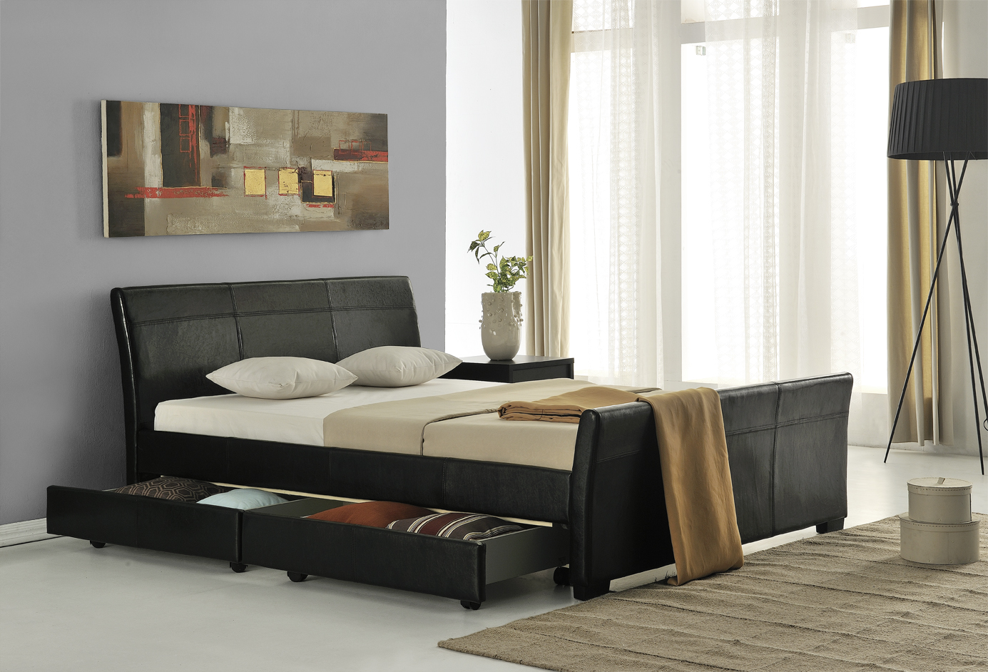 lederbett mit schubladen polsterbett bett 180x200 schwarz. Black Bedroom Furniture Sets. Home Design Ideas