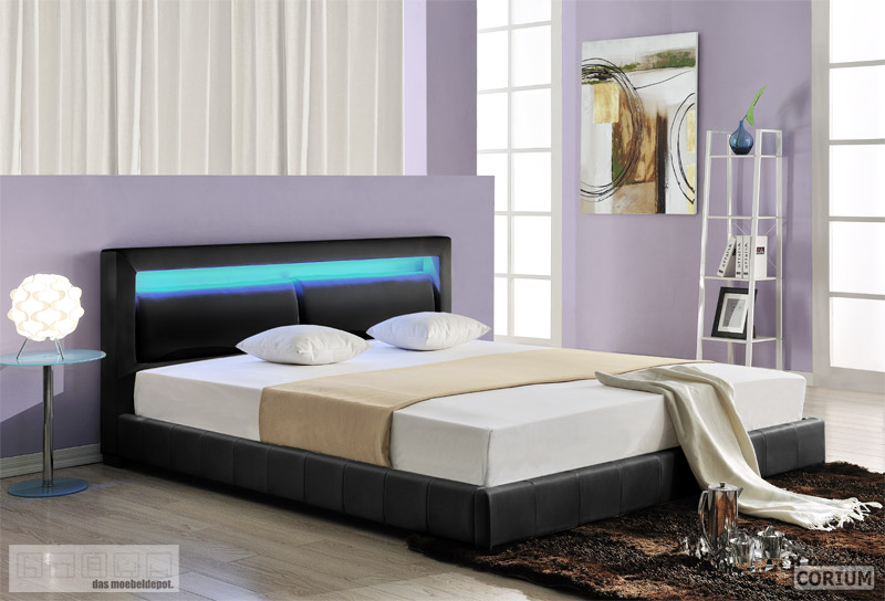 design lederbett mit led beleuchtung polsterbett bett 180x200 schwarz pu leder. Black Bedroom Furniture Sets. Home Design Ideas