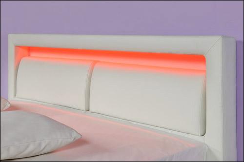 Design Lederbett mit LED Beleuchtung Polsterbett Bett 180x200 Schwarz PU-LEDER  eBay