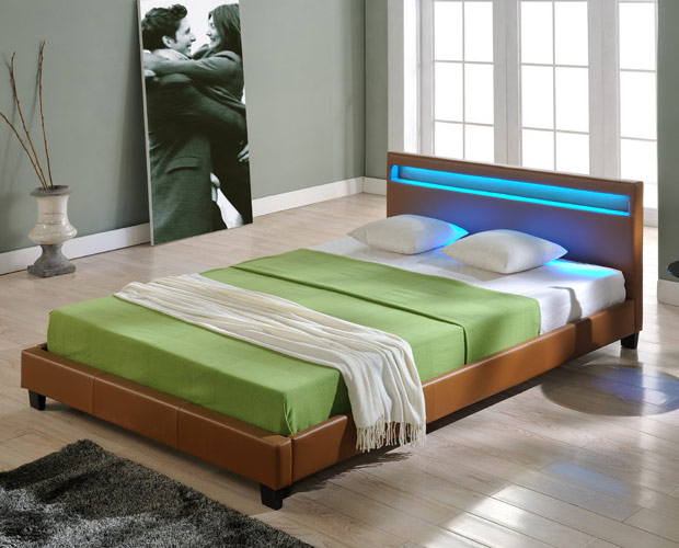 design led doppelbett polsterbett 140x200cm bettgestell bett braun bettrahmen ebay. Black Bedroom Furniture Sets. Home Design Ideas