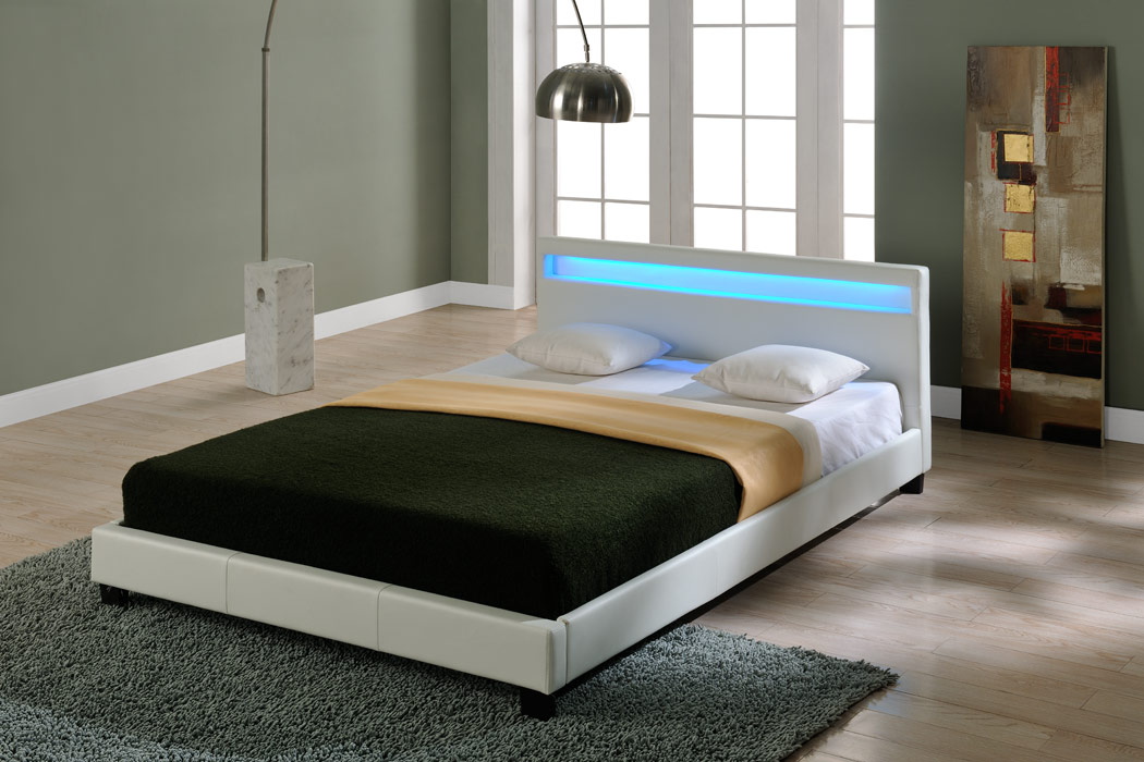led design polsterbett 140 160 180 200x200cm bett gestell doppelbett kunst leder ebay. Black Bedroom Furniture Sets. Home Design Ideas