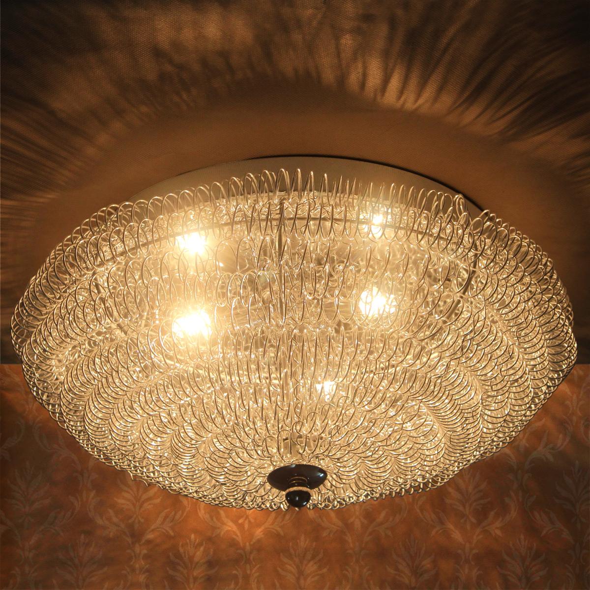 DeckenleuchteDeckenlampeLampeLeuchteMeshKristallChromWohnzimmer