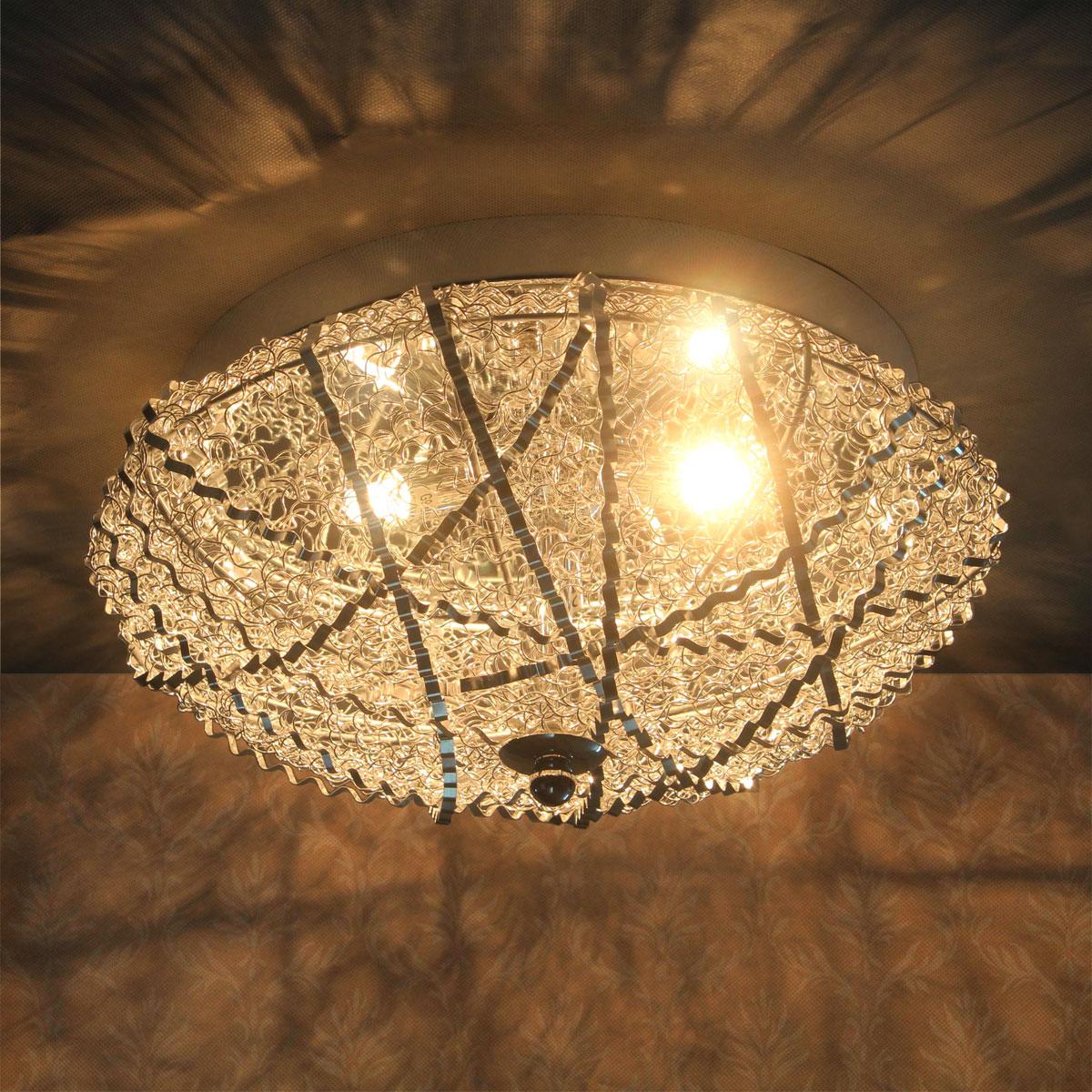 Deckenleuchte Kristallglas Led LuxproR Decken Lampe Leuchte Mesh Kristall Chrom
