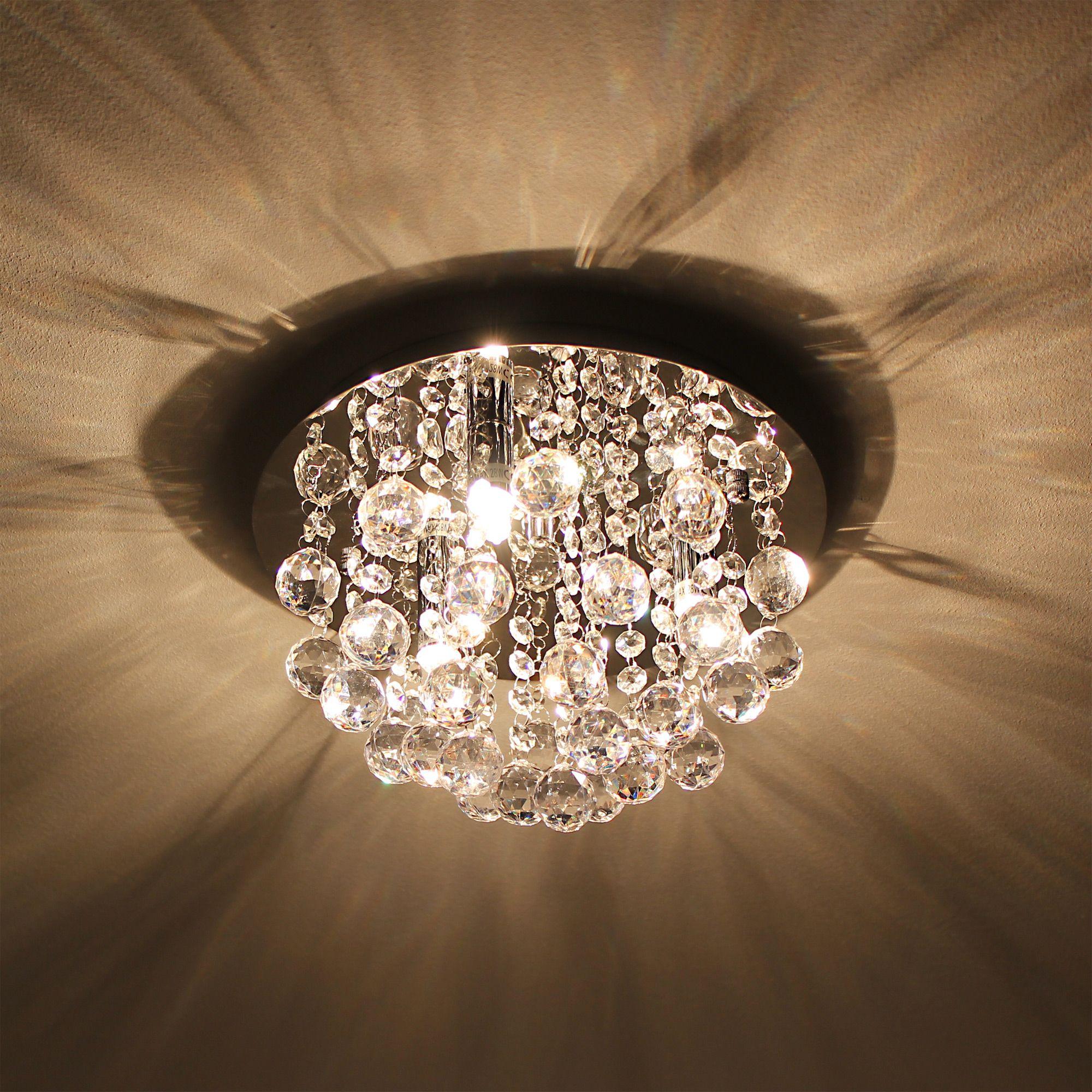 luxpro led kristall deckenleuchte 28cm deckenlampe 3xg9 smd l ster h ngeleuchte ebay. Black Bedroom Furniture Sets. Home Design Ideas