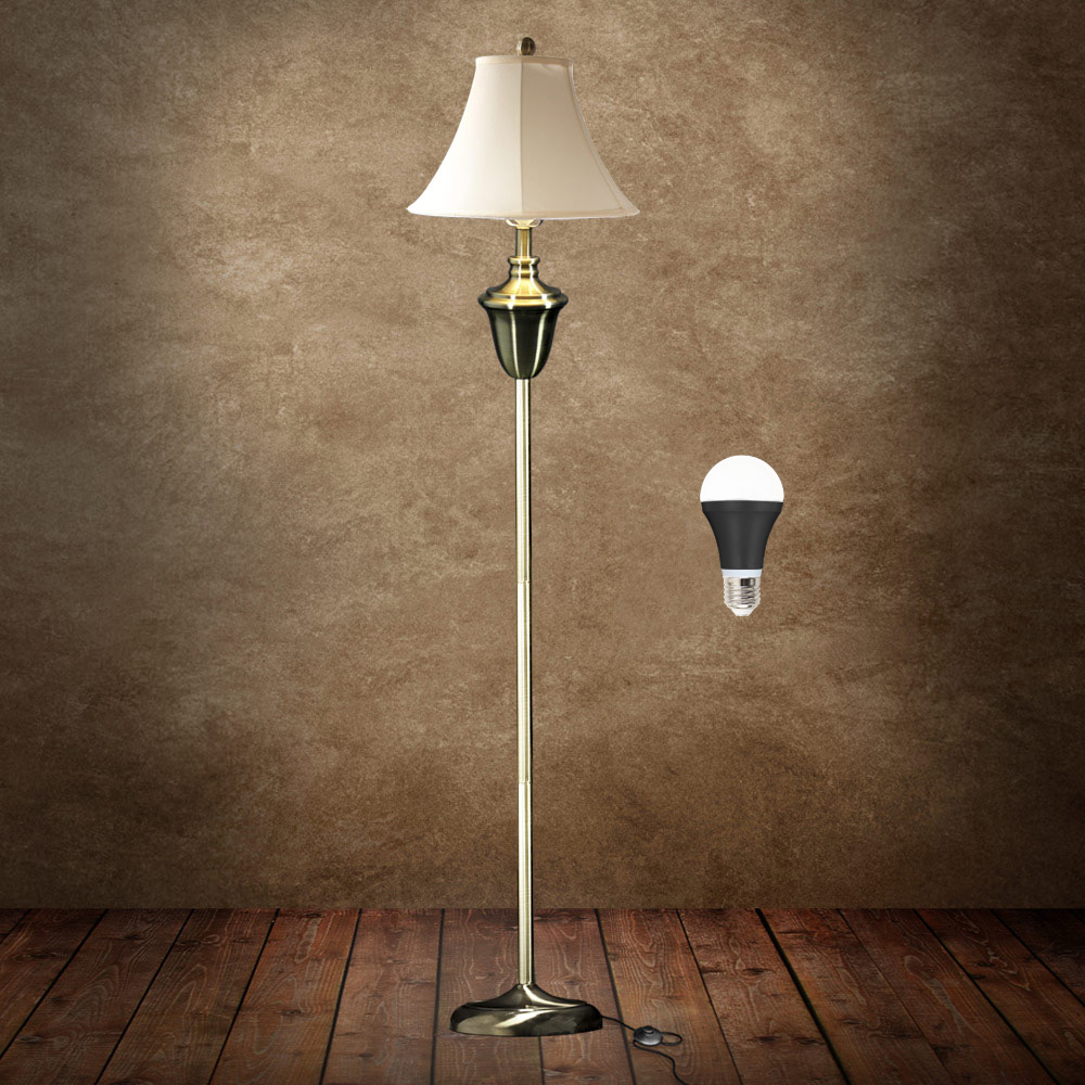 lux pro stehleuchte messing stehlampe led lampe wohnzimmerlampe leuchte ebay. Black Bedroom Furniture Sets. Home Design Ideas