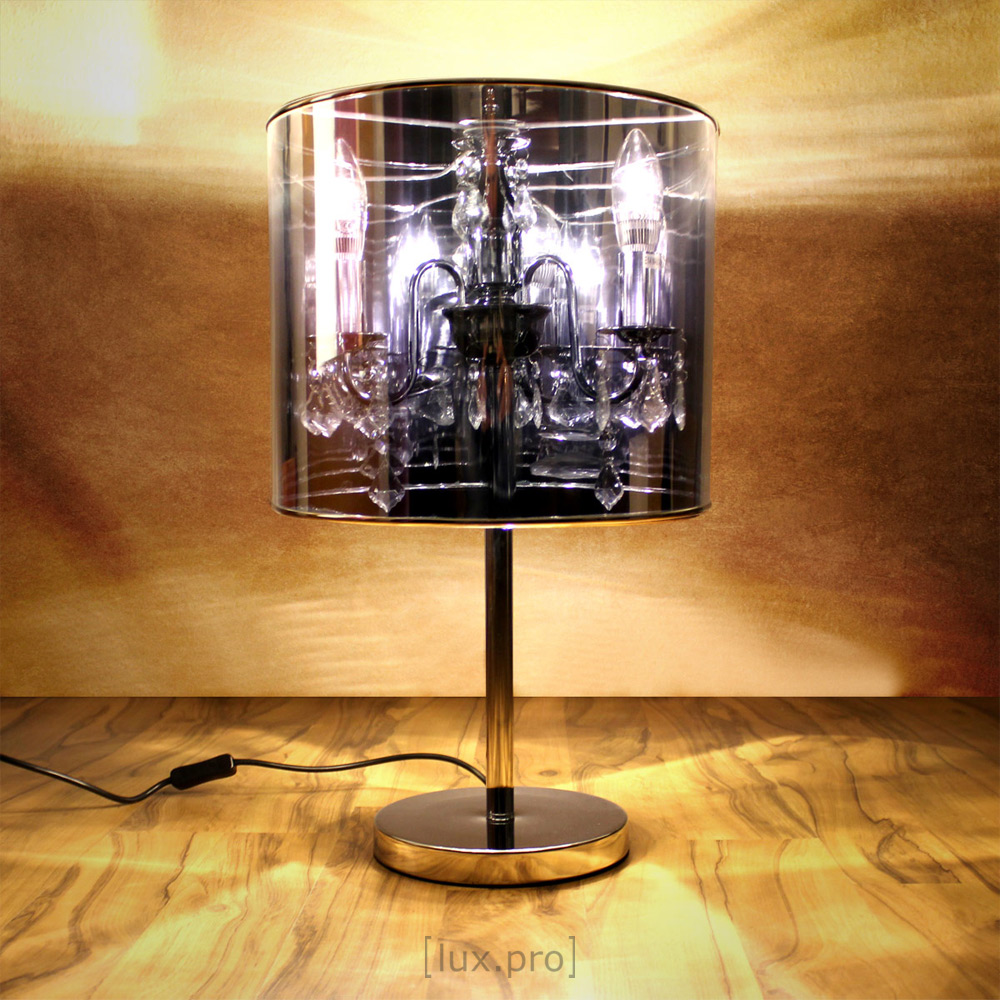 gro e chrom kristall tischlampe h he 56cm 33cm tischleuchte schreibtischlampe ebay. Black Bedroom Furniture Sets. Home Design Ideas