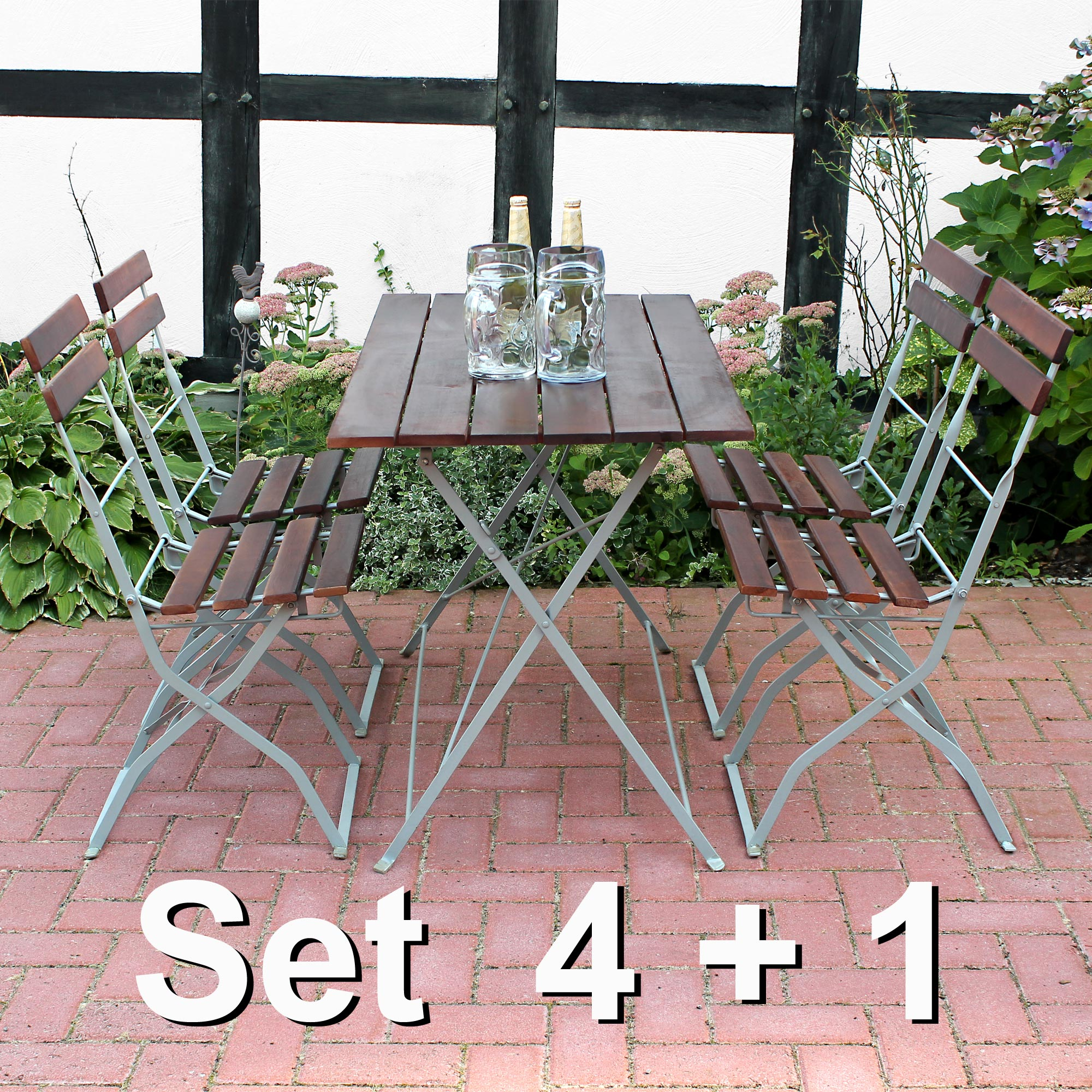 biergarten sitzgruppe tisch 4 st hle gartenm bel garten. Black Bedroom Furniture Sets. Home Design Ideas