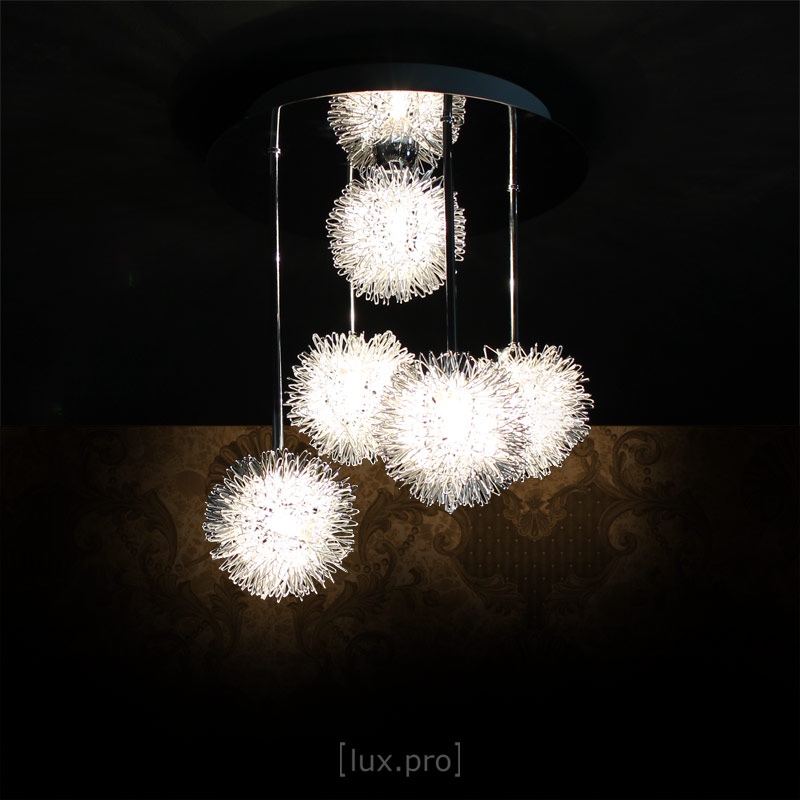 lux pro deckenleuchte 5 flammig deckenlampe effektlampe drahtkugel g9 modern ebay. Black Bedroom Furniture Sets. Home Design Ideas