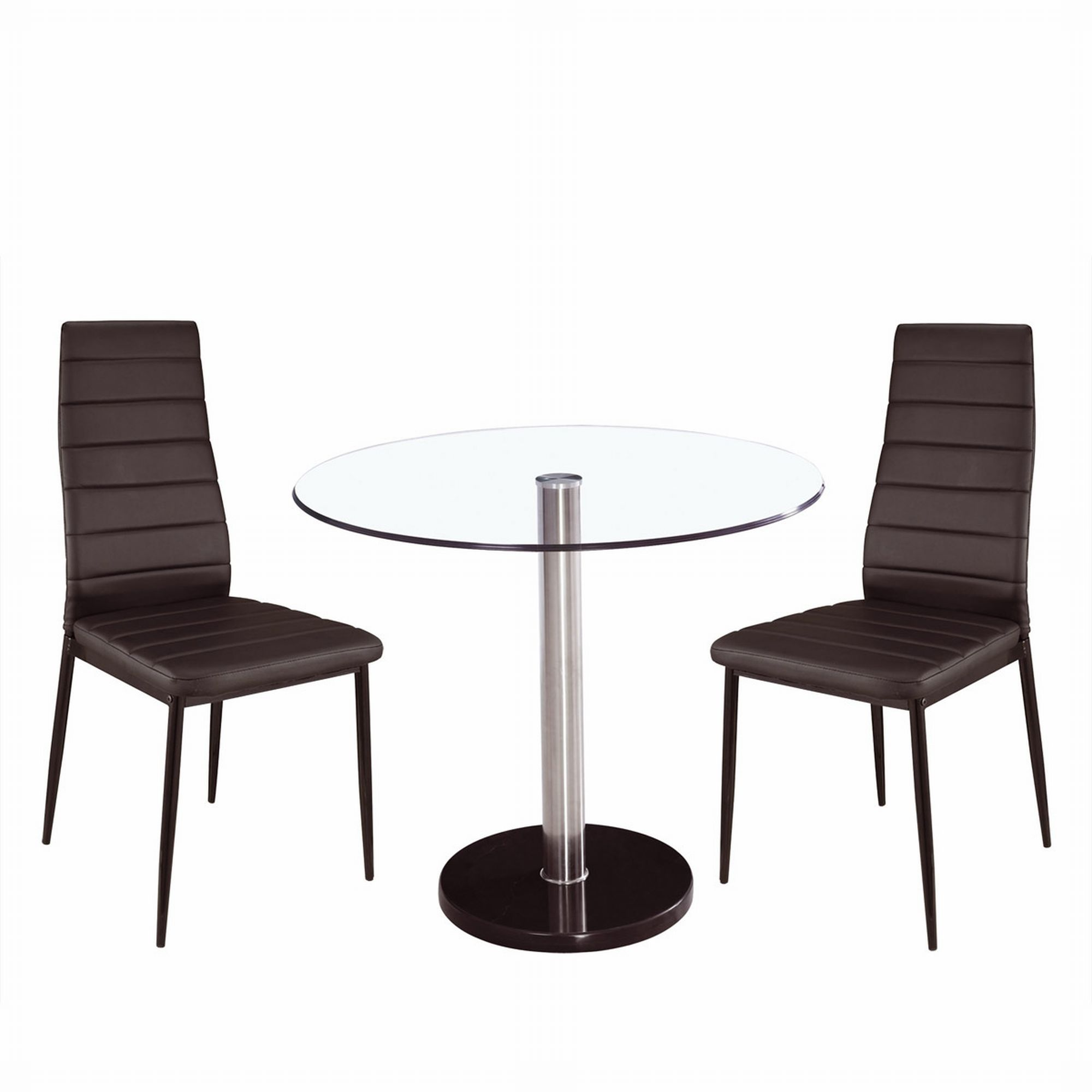 design glastisch 2 st hle esszimmerset glas tisch esstisch modern bistro set ebay. Black Bedroom Furniture Sets. Home Design Ideas
