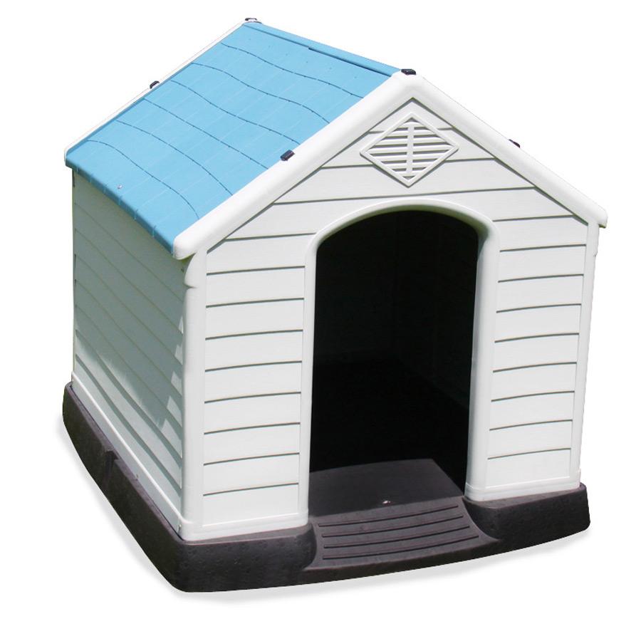 kunststoff hundeh tte blau wei rot dachluke unterschlupf hunde haus h tte ebay. Black Bedroom Furniture Sets. Home Design Ideas