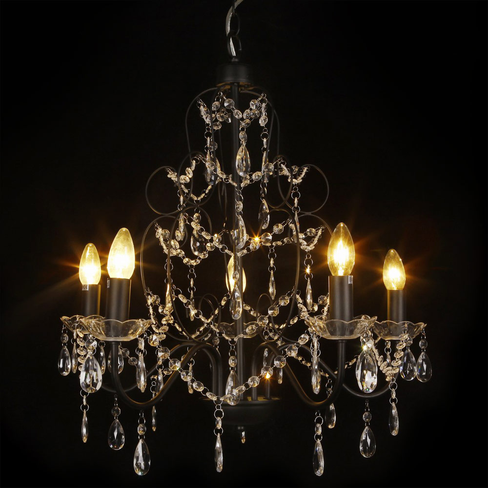 kristall kronleuchter 60cm l ster schwarz deckenleuchte h ngeleuchte leuchte ebay. Black Bedroom Furniture Sets. Home Design Ideas