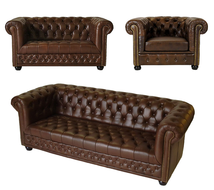chesterfield sofa couch garnitur 3 2 1 sitzer spalt leder antique braun hamilton ebay. Black Bedroom Furniture Sets. Home Design Ideas