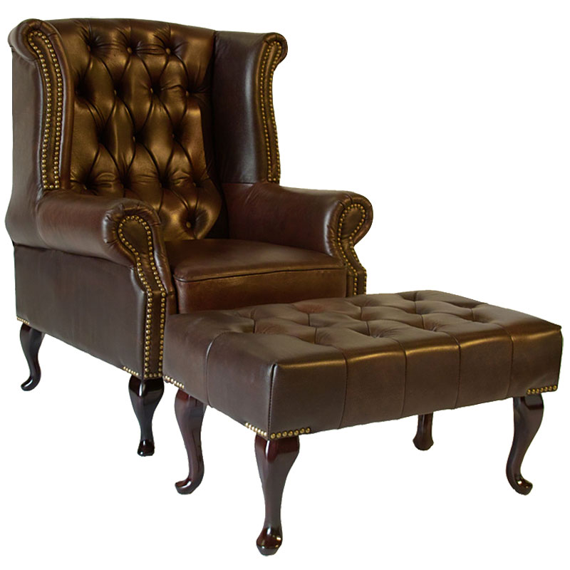 Chesterfield ohrensessel sessel hocker spalt leder for Ohrensessel hocker