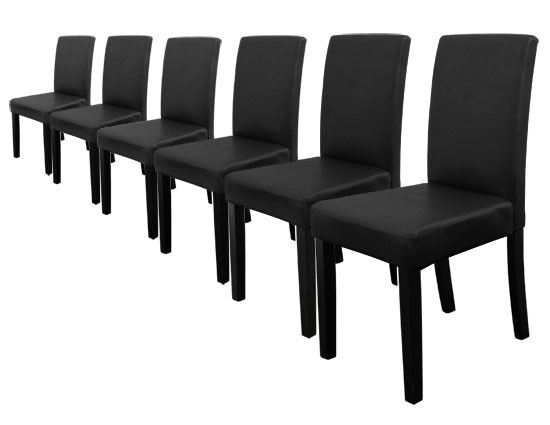 6x st hle hochlehner esszimmerst hle schwarz pu. Black Bedroom Furniture Sets. Home Design Ideas