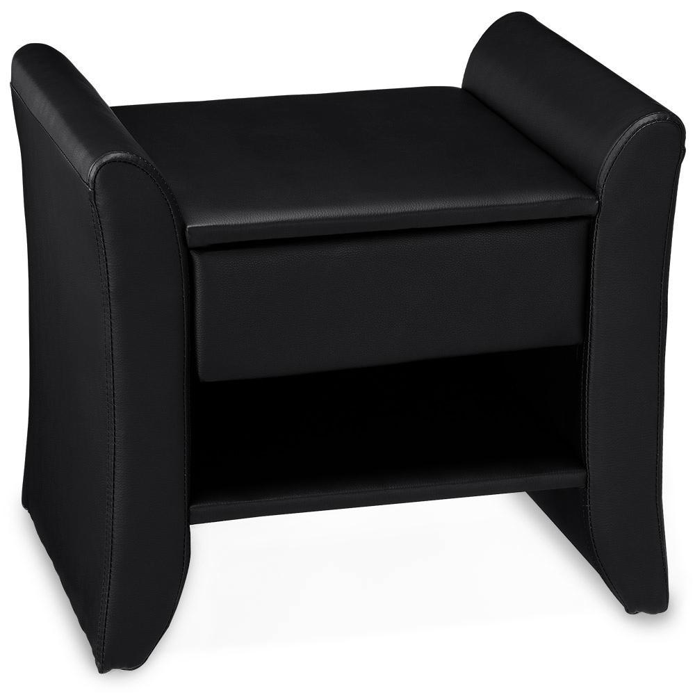 bett hocker nachttisch sitzhocker schwarz wei kunst leder ottomane truhe kiste ebay. Black Bedroom Furniture Sets. Home Design Ideas
