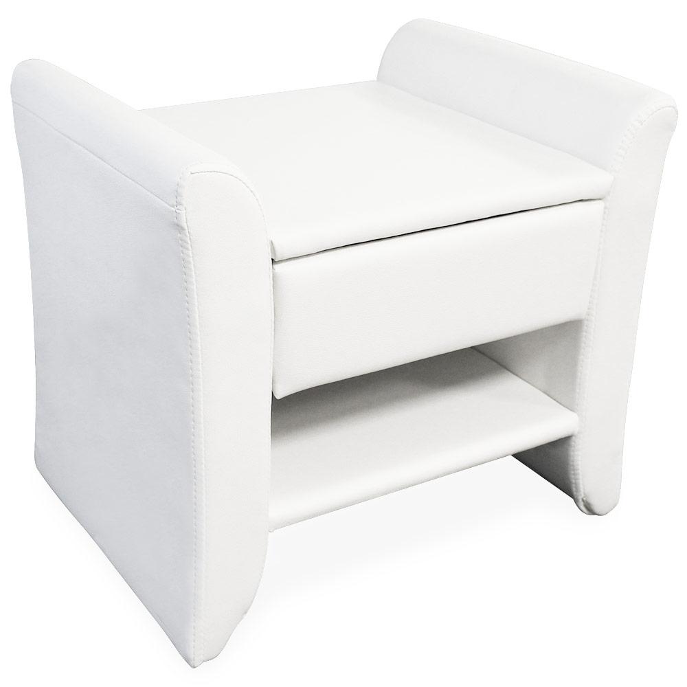 bett hocker nachttisch sitzhocker schwarz wei kunst leder. Black Bedroom Furniture Sets. Home Design Ideas