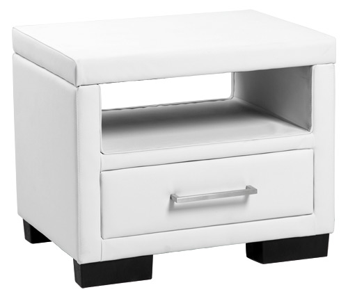 neuholz chevet avec tiroir blanc simili cuir nacht commode table d 39 appoint ebay. Black Bedroom Furniture Sets. Home Design Ideas