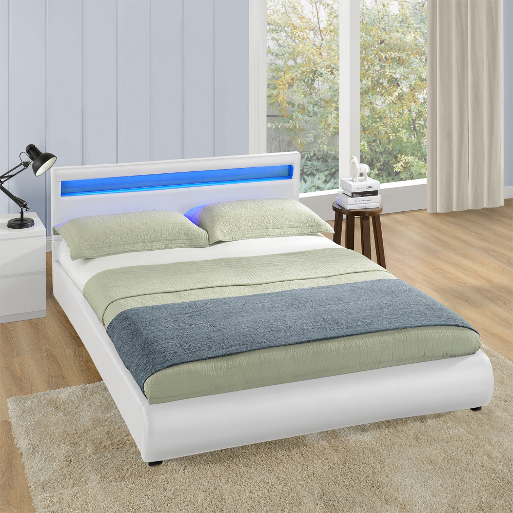 Design led doppelbett polsterbett 140 180x200cm for Bett mit led