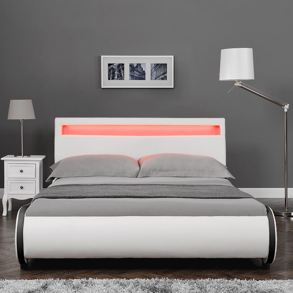 CORIUM Design LED Letto imbottito 140 180 x 200cm cuoio arte Doppio Matrimoni...