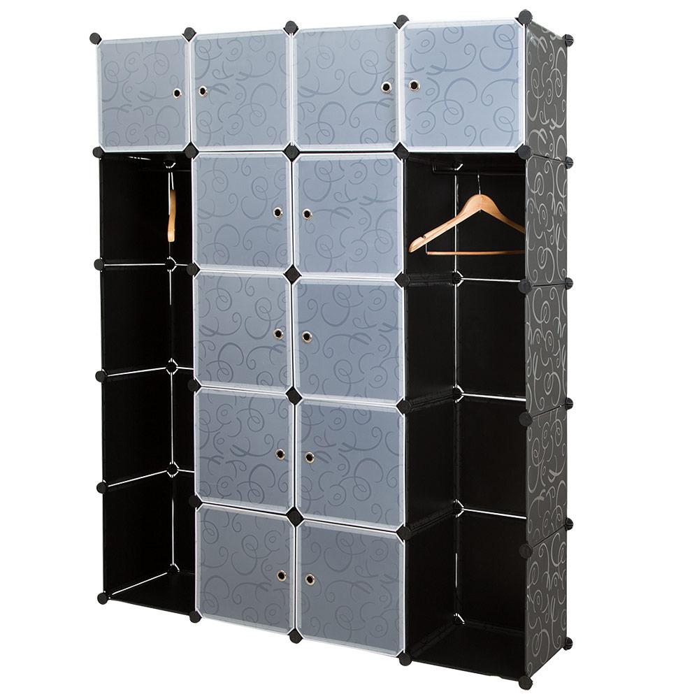 neu haus system regal schrank w sche garderobe schwarz. Black Bedroom Furniture Sets. Home Design Ideas