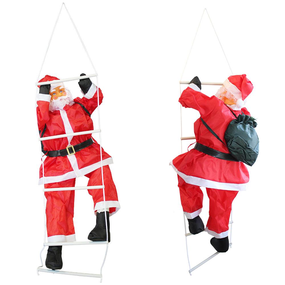 X mas deko weihnachten nikolaus weihnachtsmann leiter for Pere noel decoration exterieur