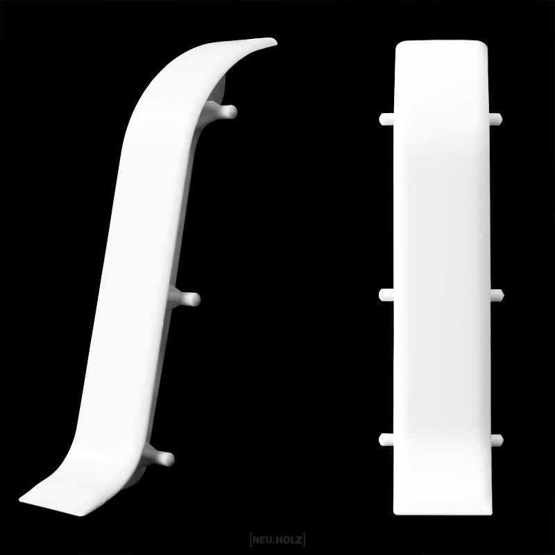 neuholz verbinder f r sockelleisten wei 60mm fu leisten laminat pvc ebay. Black Bedroom Furniture Sets. Home Design Ideas