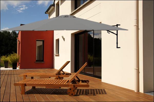 sonnenschirm halb schirm wandhalterung 300cm creme grau gr n kurbel garten. Black Bedroom Furniture Sets. Home Design Ideas