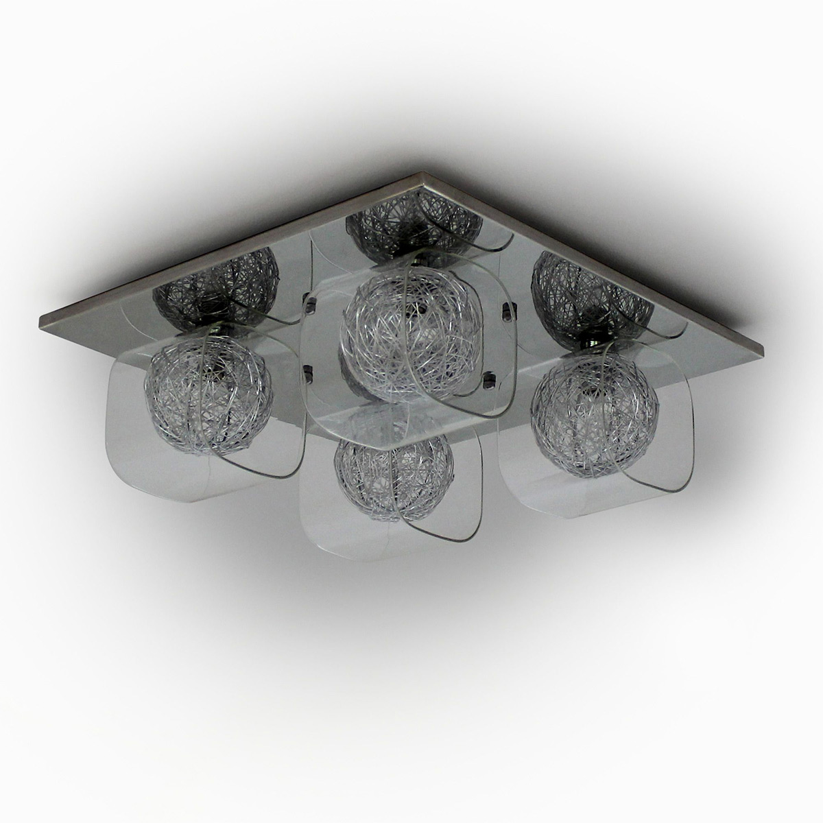 Lux Pro R Ceiling Light Lamp Mesh Crystal Chrome Living Room