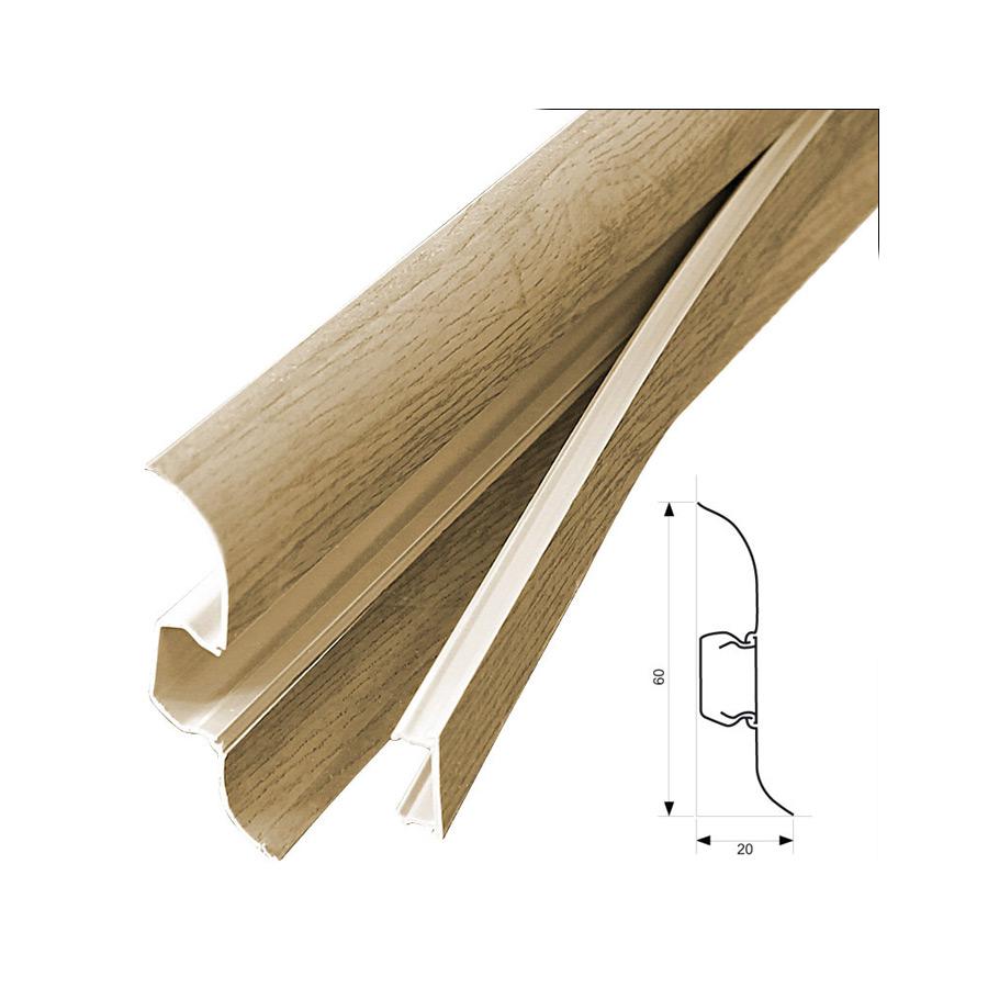 neu holz 2 5m sockelleiste 60mm fu leiste kabelkanal sockel leisten pvc kabel ebay. Black Bedroom Furniture Sets. Home Design Ideas