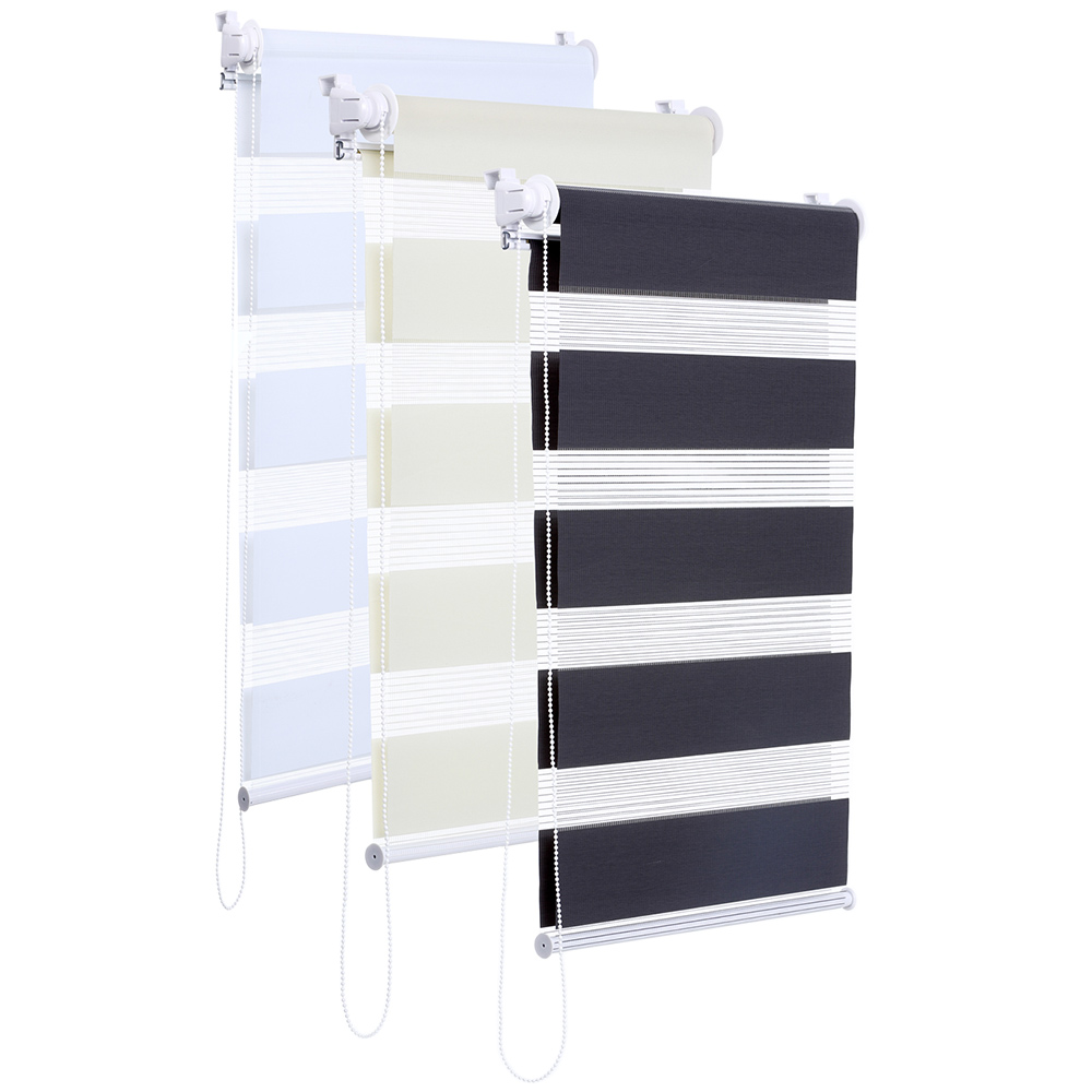 duo rollo creme grau wei ohne bohren zebra vario jalousie klemm halter easy fix ebay. Black Bedroom Furniture Sets. Home Design Ideas