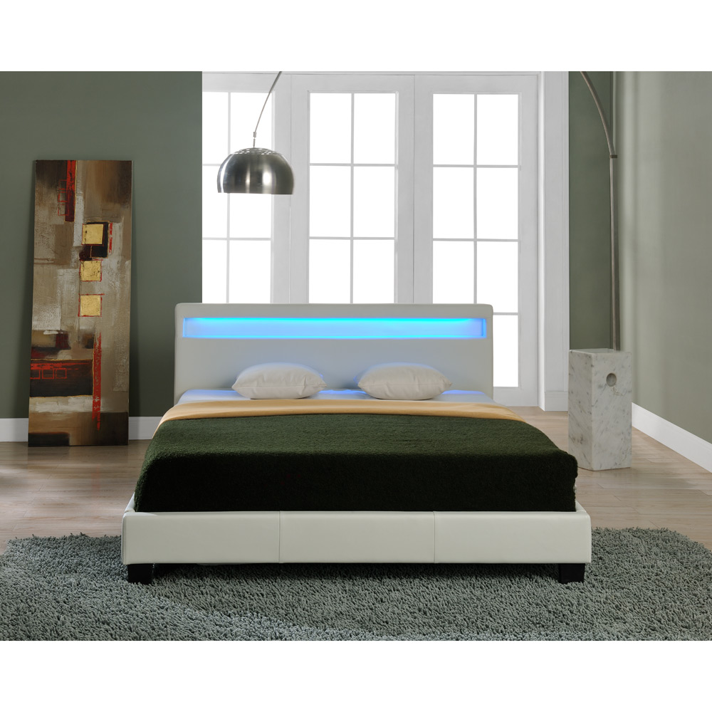 modernes led polsterbett 140 160 180 200x200cm bett gestell doppelbett pu leder ebay. Black Bedroom Furniture Sets. Home Design Ideas