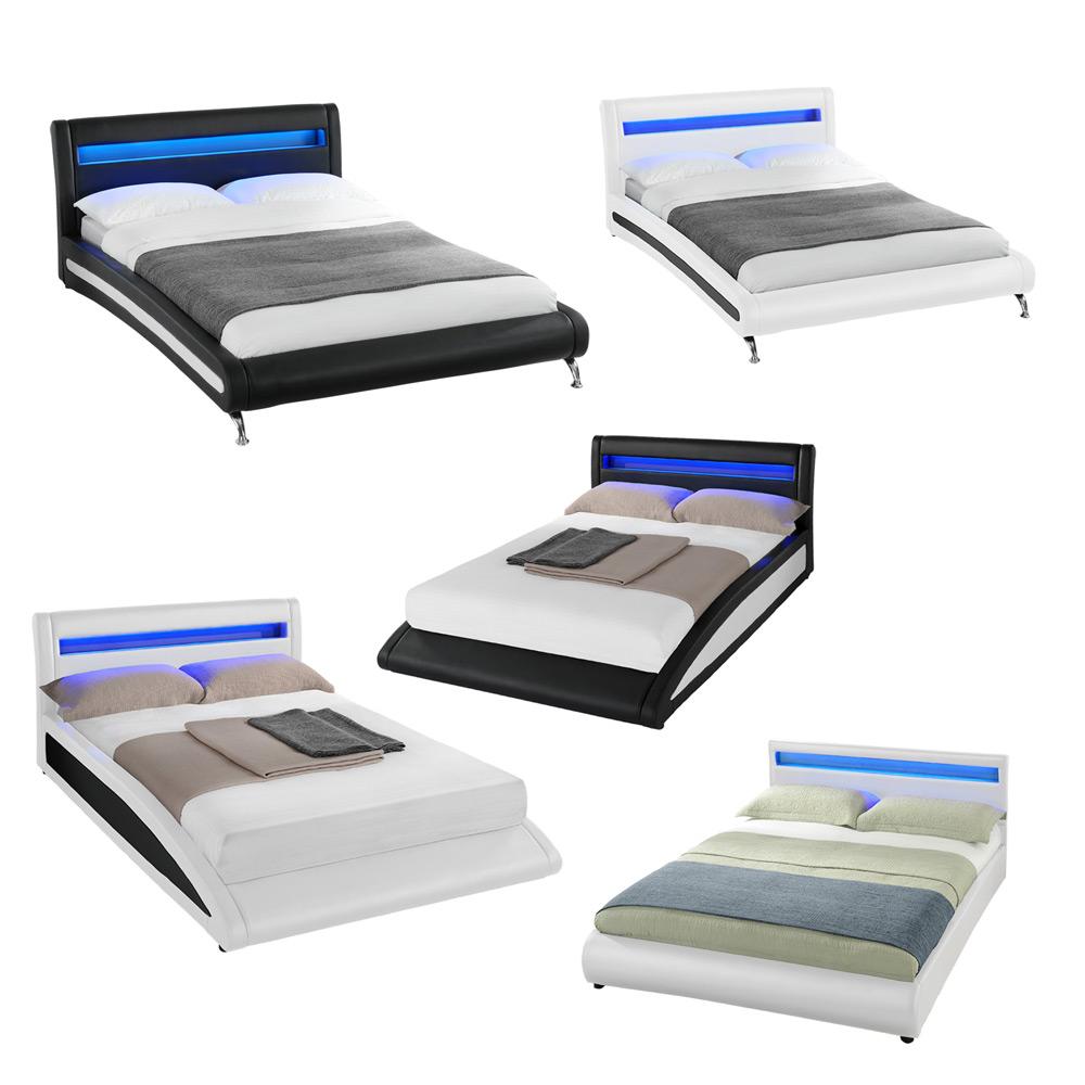 Design LED Doppelbett Polsterbett 140/180x200cm Bettgestell Bett ...
